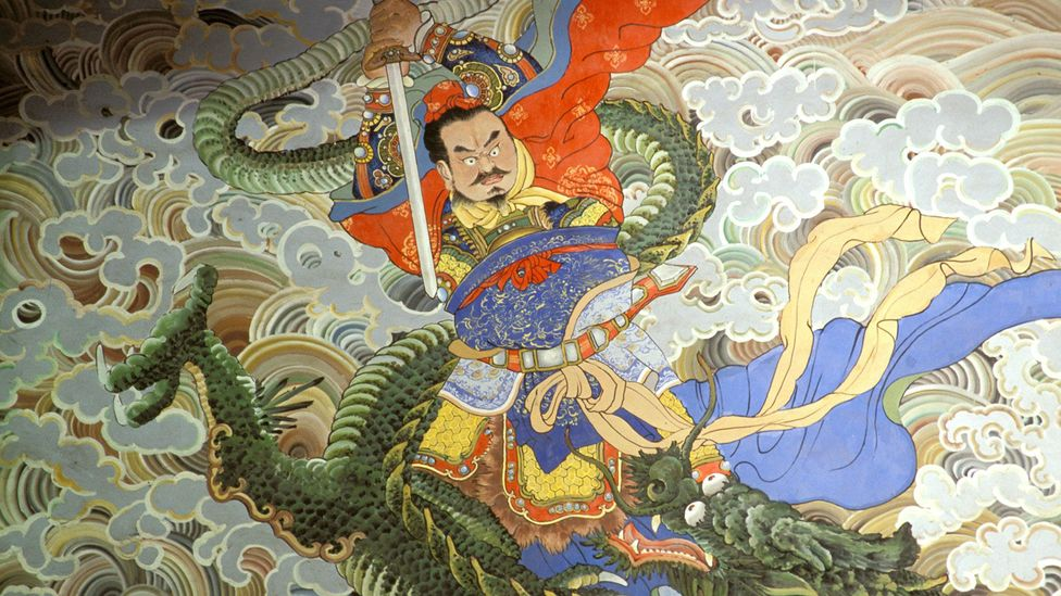 Emperor Zhou the Dragon Slayer, as shown in a wall painting at Yixing Temple in Jiangsu Province (Credit: Alamy)