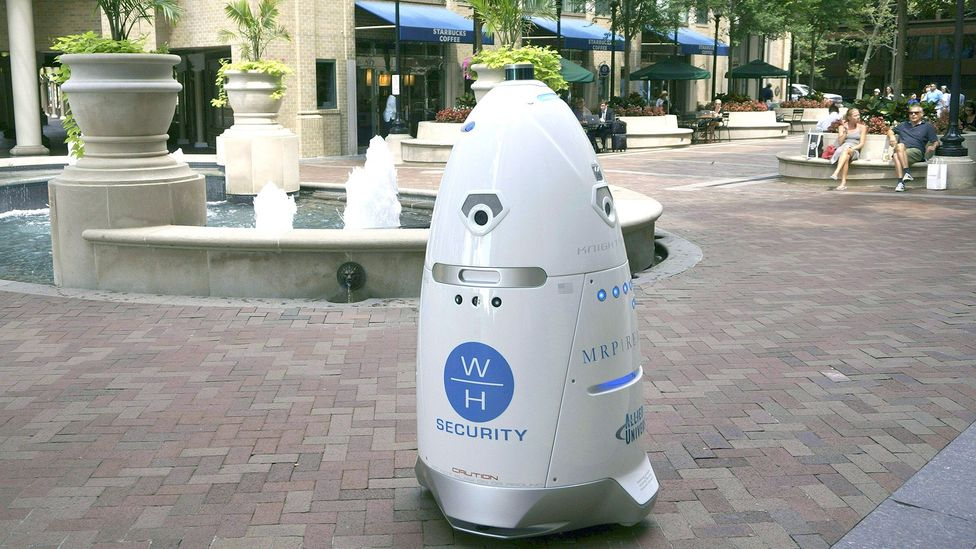 Steve the crime-fighting robot plunged into a fountain at the shopping centre he was meant to patrol (Credit: Getty Images)