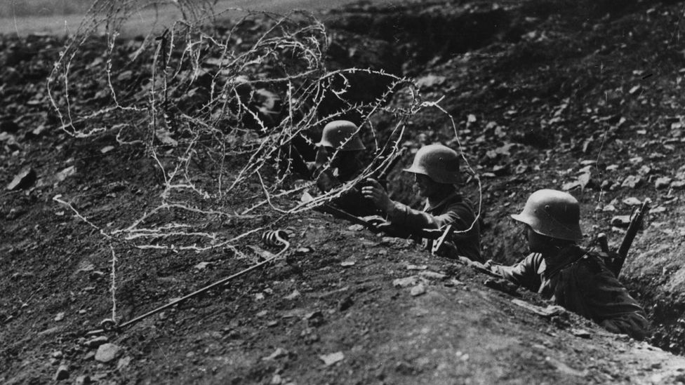 Barbed wire had been very difficult for infantry to deal with before tanks arrived (Credit: Getty Images)