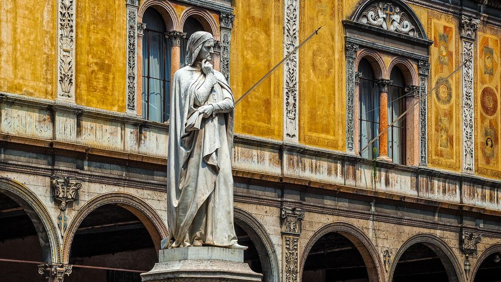 Depictions of Dante are found all over Italy, as with this statue in Verona, but Florence did not pardon him for the alleged crimes that exiled him until 2008 (Credit: Alamy)