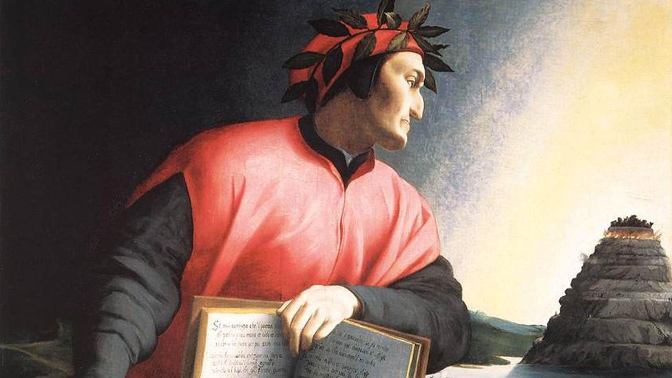 Dante's popularisation of the Florentine Tuscan language helped make Florence the epicentre of the Renaissance, and his likeness is on this Uffizi gallery fresco (Credit: Alamy)