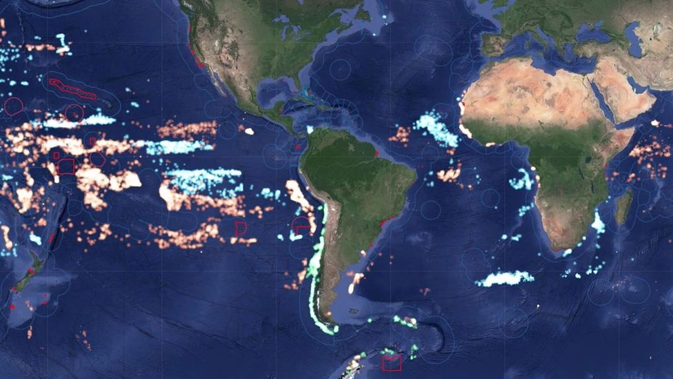 The fishing fleets of three countries: Chile (green), China (orange) and Japan (blue) (Credit: Oceana/Global Fishing Watch)