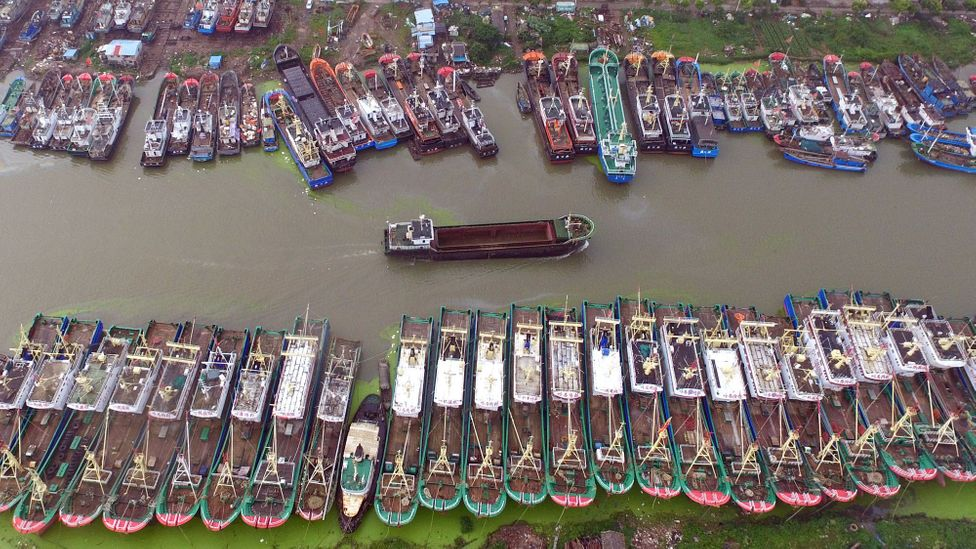 Fishing vessels shelter ahead of a storm in China (Credit: Getty Images)