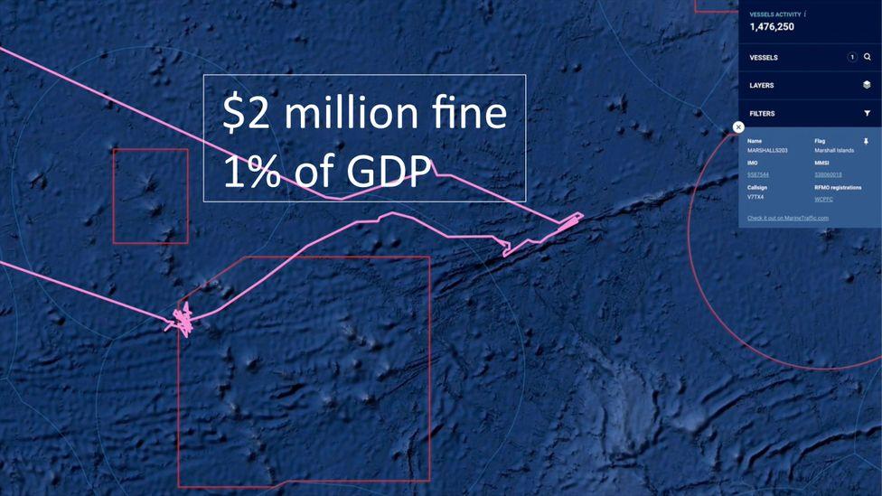 Illegal fishing in a Kiribati protected zone (Credit: Oceana/Global Fishing Watch)