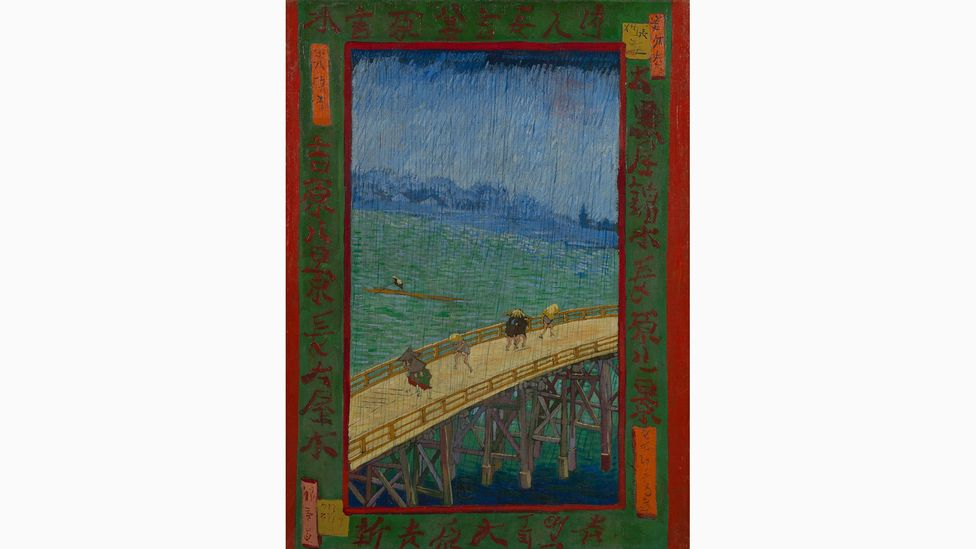 Van Gogh was inspired by the aesthetics of Japanese art, creating Bridge in the Rain (After Hiroshige) in 1887 (Credit: Van Gogh Museum)