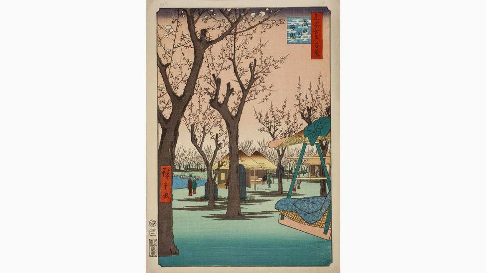 Utagawa Hiroshige influenced Van Gogh: this is Hiroshige's Plum Garden at Kamata, 1857 (Credit: Nationaal Museum voor Wereldculturen, Leiden)