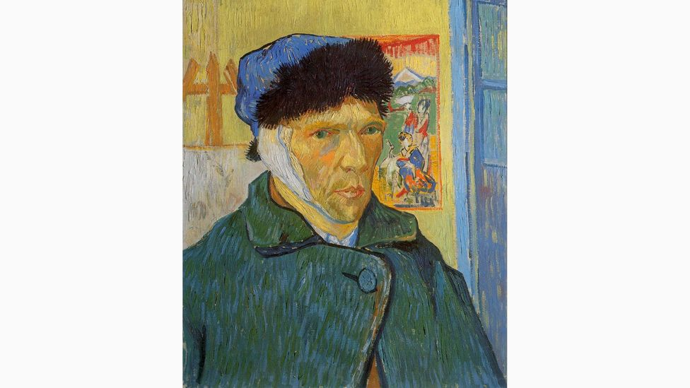 Van Gogh sought serenity in Japanese prints – like that behind him in Self-Portrait with Bandaged Ear, 1889 (Credit: The Samuel Courtauld Trust, The Courtauld Gallery, London)