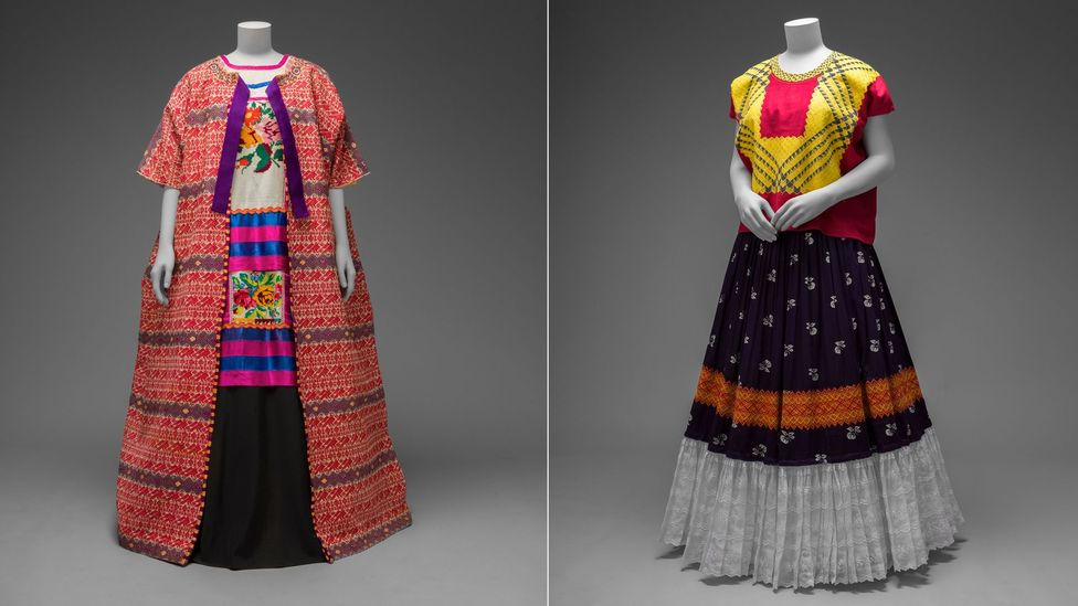 Garments displayed include the traditional huipil (embroidered tops), rebozos (shawls), long skirts and jewellery (Credit: Victoria and Albert Museum)