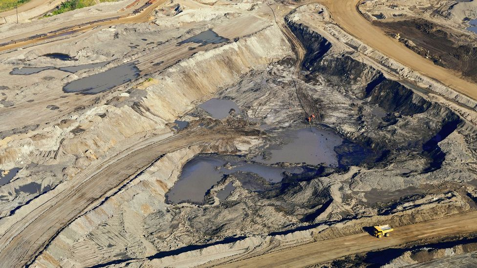 Bitumen mining, shown here in the oil sands of Alberta, Canada, has become a controversial issue (Credit: Alamy)