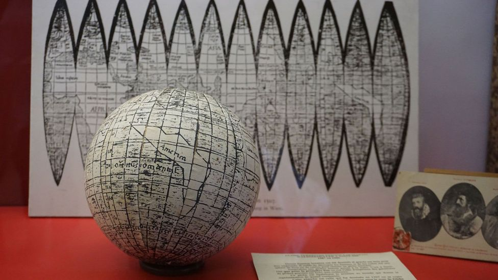 The globe printed alongside the Waldseemüller map indicates that medieval Europeans knew the Earth was round (Credit: Madhvi Ramani)