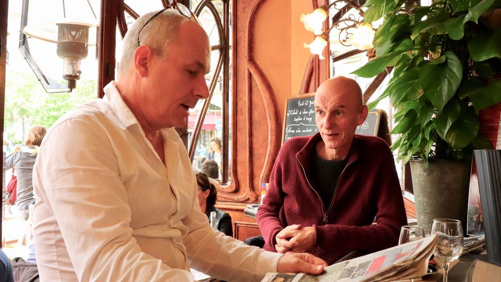 Serge Jovanovic (left) and Georges Cano have eaten lunch together at Le Bistrot du Peintre for 15 years (Credit: Vivian Song)