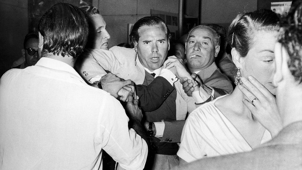 McClory, seen here in a bar room brawl in 1959, sued Fleming after the author chose other film producers to adapt Bond – but retained elements of his screenplay (Credit: Alamy)
