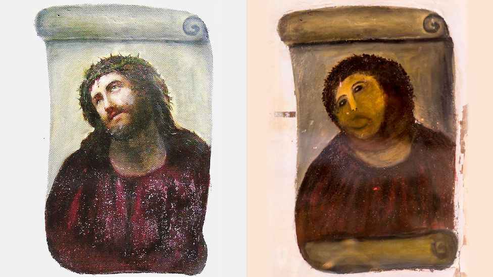 After an elderly parishioner attempted to restore Ecce Homo by Elías García Martínez in Borja, Spain, the town became a tourist hotspot (Credit: Alamy)