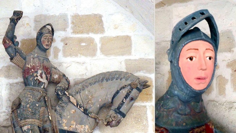 Recently released images show a sculpture of St George at a church in Navarra, Spain – before and after its botched restoration (Credit: EPA)