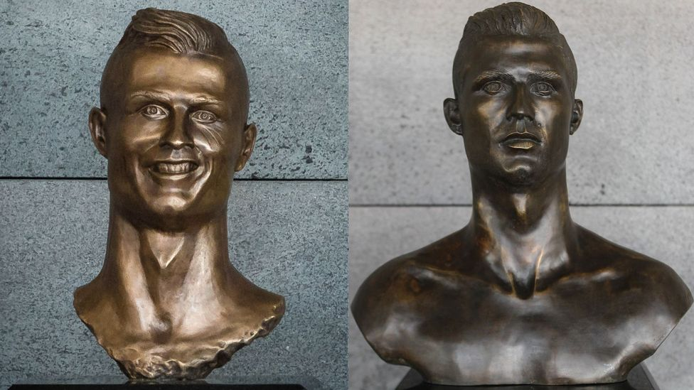 After a new bust of Cristiano Ronaldo (right) was unveiled at Madeira airport, a petition was launched to bring back the derided bust it had replaced (left) (Credit: EPA)