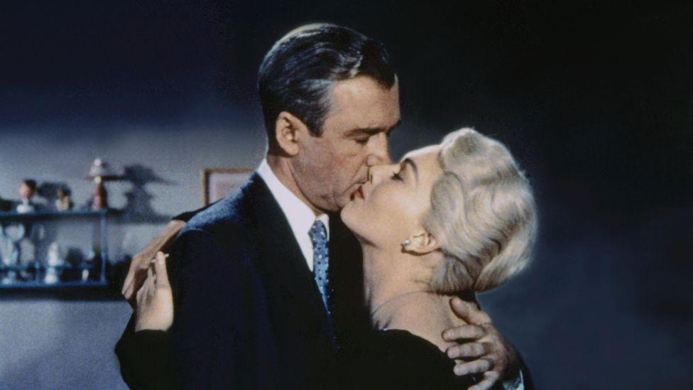 Vertigo – starring Jimmy Stewart and Kim Novak – stands out as Hitchcock's most mercilessly bleak work (Credit: Alamy)