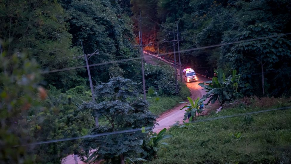 Ambulances carry two of the boys freed from the Tham Luang Nang Non cave site to hospital (Credit: Getty Images)