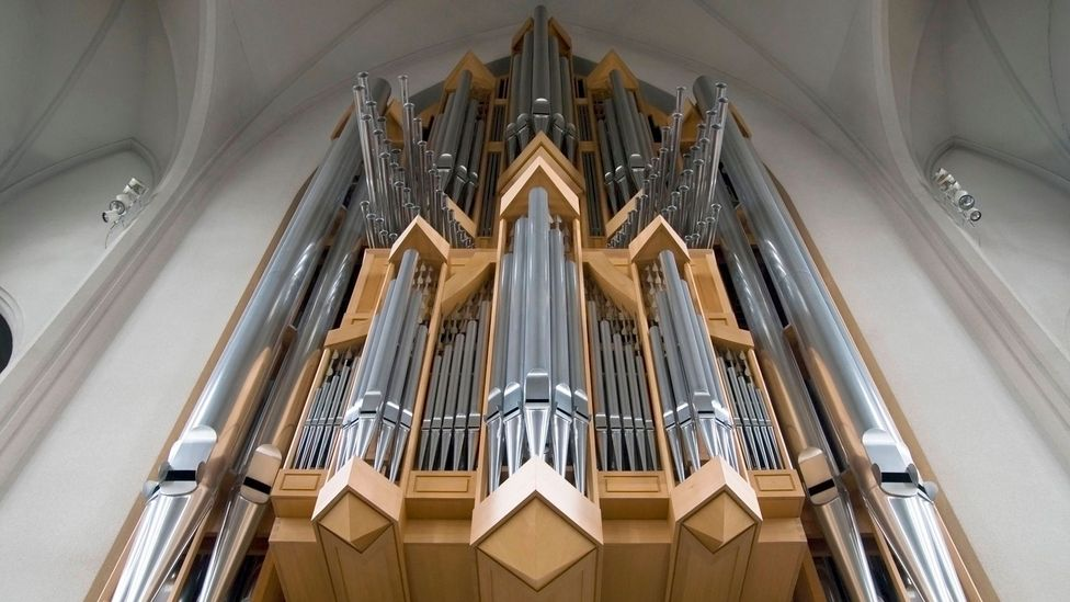 The spikey lines of the Hallgrimskirkja's interior reflects the country's icy environment (Credit: Alamy)