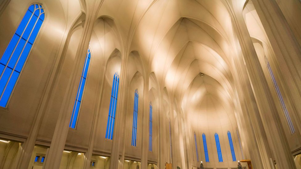 The imposing interior of the concrete Hallgrímskirkja Lutheran church, designed by architect Guðjón Samuelsson (Credit: Alamy)