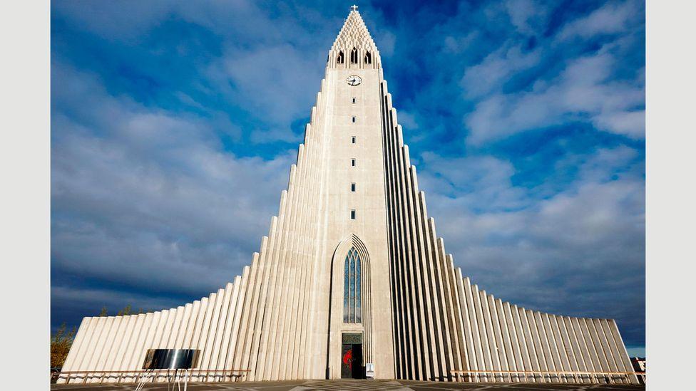 The stunning Hallgrímskirkja in Reykjavik is an important landmark, with its distinctive 75m-high spire (Credit: Alamy)