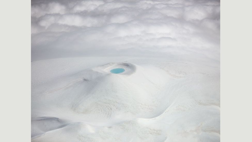 """Hekla volcano: """"This was the unexpected view, a crater completely covered in snow after a late winter in the mountains of Iceland"""" – Antony Spencer (Credit: Antony Spencer)"""
