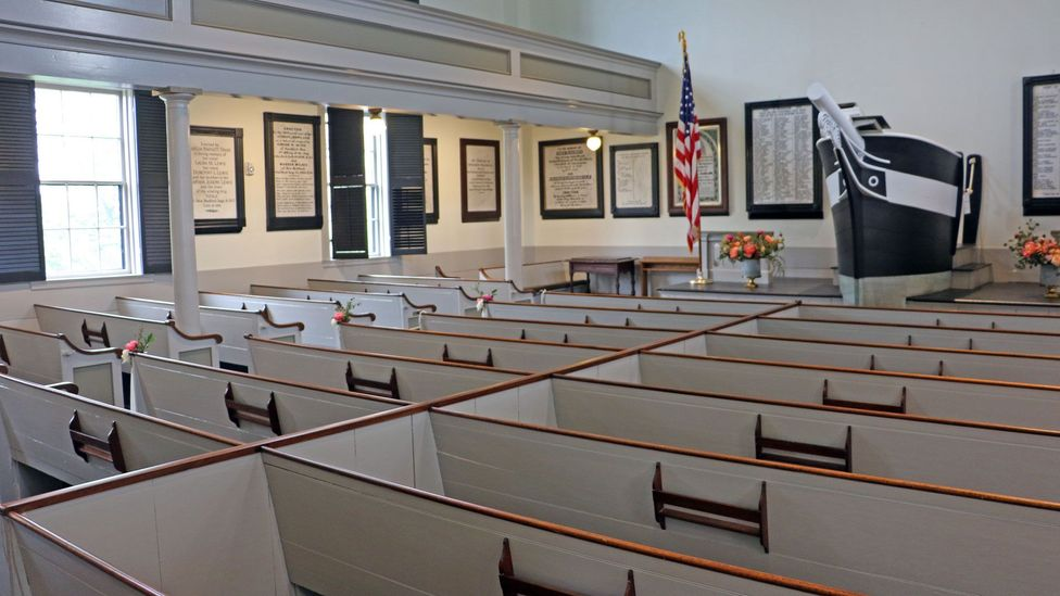 Marble cenotaphs on the walls of New Bedford's Seamen's Bethel honour the sailors who died at sea (Credit: Mike MacEacheran)