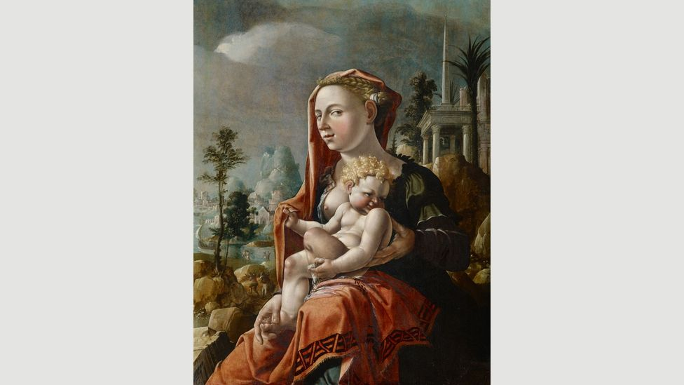 """Theaster Gates refers to Maerten van Heemskerck's Virgin with Child in front of a Landscape as """"The Ghetto Madonna""""(Credit: Kunstmuseum Basel)"""