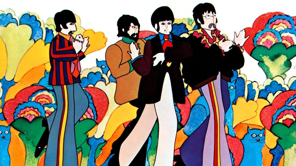 The Beatles don't voice themselves in Yellow Submarine and only appear, in a live-action scene, at the very end of the film (Credit: Alamy)