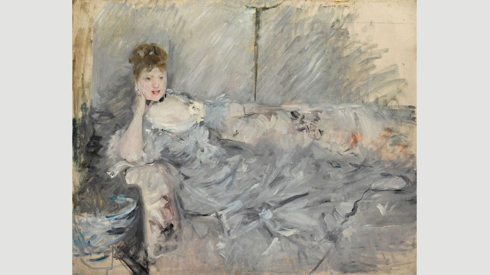 Young Woman in Grey Reclining (1879) displays Morisot's experiments with the concepts of 'finished' and 'unfinished' painting (Credit: Cleveland Museum of Art)
