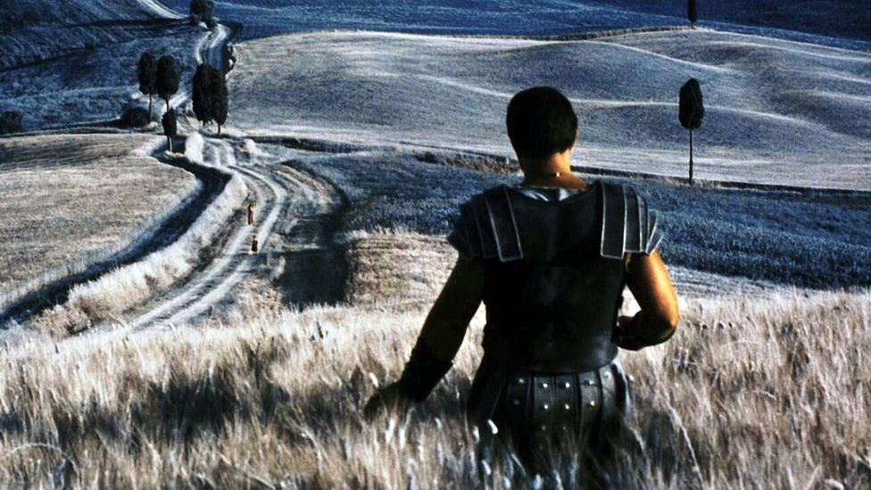 Gladiator features several hallucinogenic sequences in which Maximus dreams of the afterlife, Elysium, and runs a hand over its fields of golden wheat (Credit: Alamy)