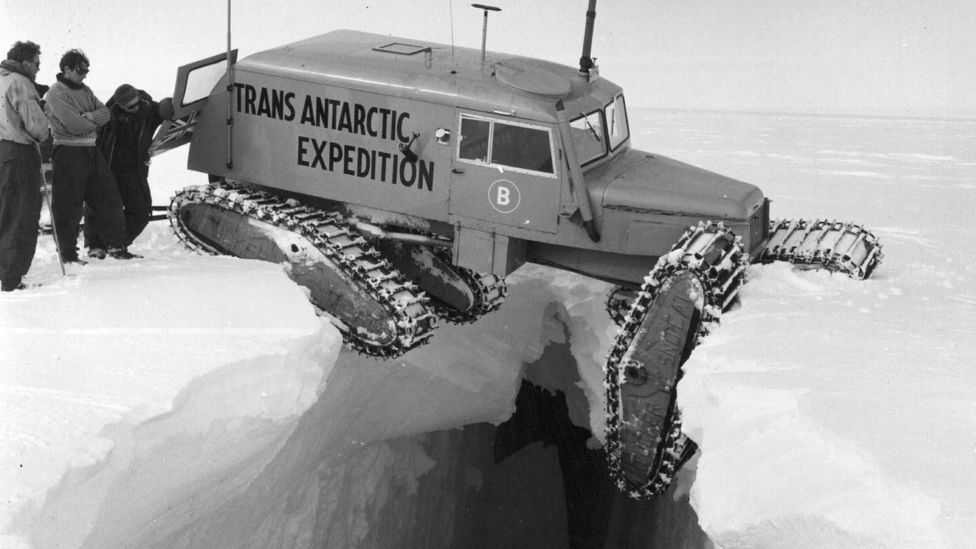 Crevasses can be deadly; this vehicle in the 1950s had a lucky escape (Credit: Getty Images)