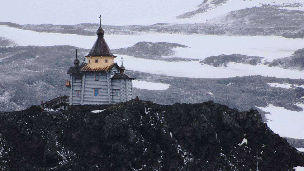 A Russian orthodox church sits on a small rise above Chile's research base (Credit: Yadvinder Malhi)