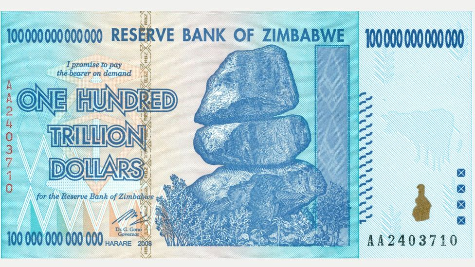 Rampant hyperinflation led Zimbabwe to introduce a Z$100 trillion note in 2009, which at the time was worth about US$30 (Credit: Alamy)