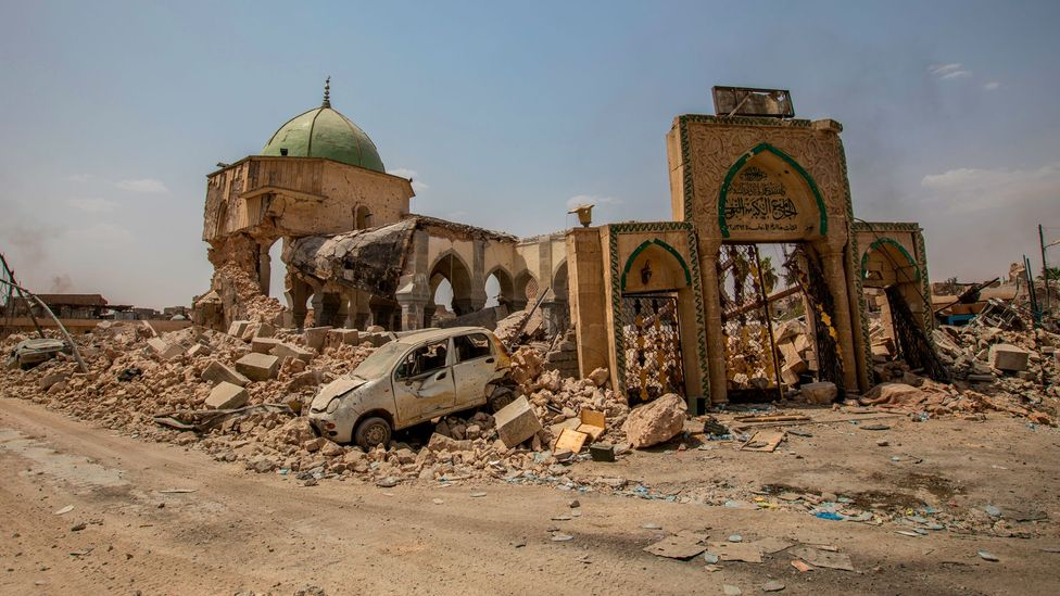 Countless structures, including the Al-Nuri Mosque in Mosul, Iraq, have been the collateral damage of the many conflicts spanning the Middle East (Credit: Getty Images)