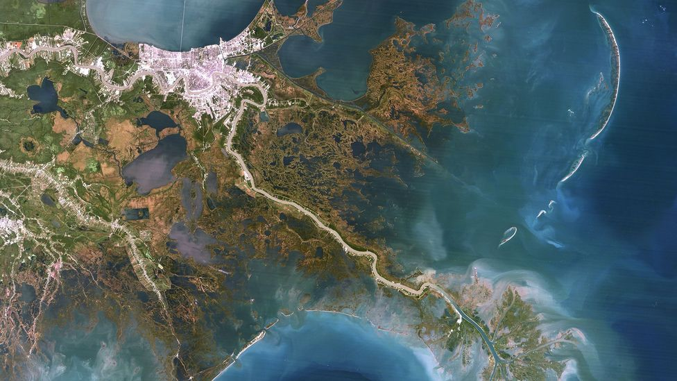In this image of the Mississippi delta, New Orleans is in the upper left, Biloxi Marsh is further right and the river runs from  upper left to lower right (Credit: Getty Images)