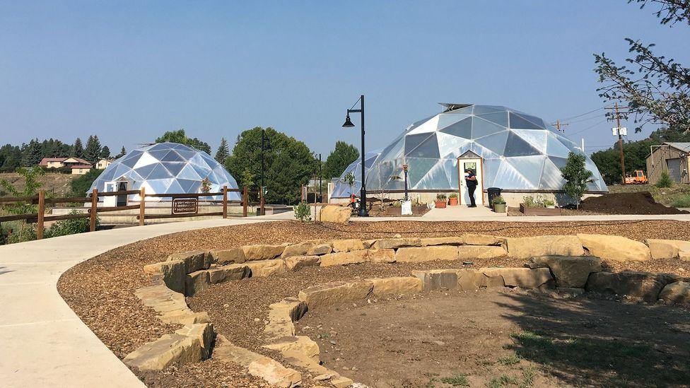 Greenhouse domes in Pagosa Springs, Colorado