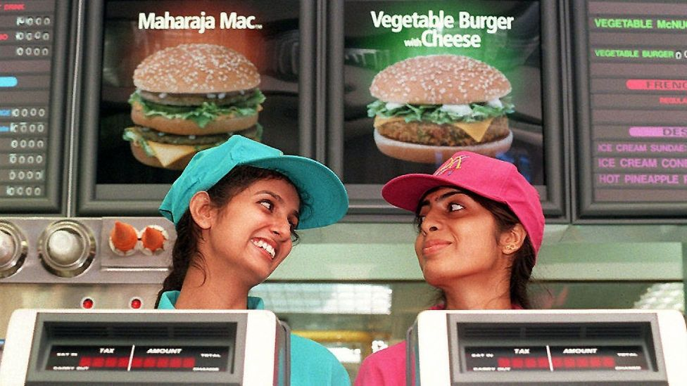 The first McDonald's restaurant in New Delhi, India opened in 1996 with Maharaja Macs and vegetable burgers with cheese on its menu. (Credit: Getty Images)