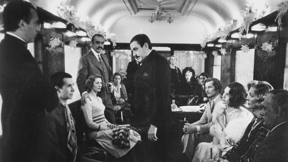 """Hercule Poirot (Albert Finney) in Christie's Murder on the Orient Express – the Belgian detective """"brings English stereotypes into relief"""". (Credit: Getty)"""