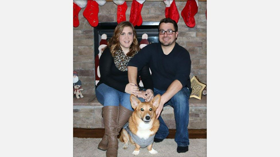 For Katie Adkins and her boyfriend Derek, the bereavement leave her employer granted to mourn her Corgi, Goliath, was deeply appreciated (Credit: Katie Adkins)