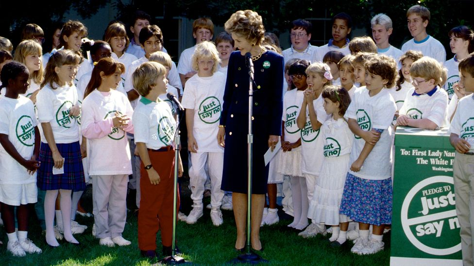 Former First Lady Nancy Reagan lead the 'Just Say No' campaign part of the Reagan adminstration's War on Drugs (Credit: Getty Images)