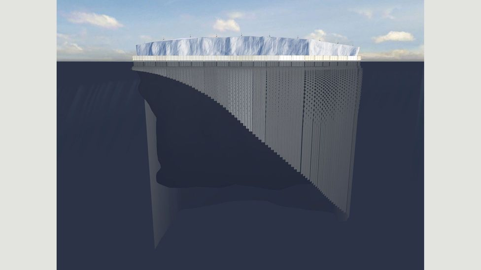 Sloane and Mougin aim to wrap the icerberg in a fabric mesh that could prevent it from melting (Credit: Georges Mougin & Nick Sloane)