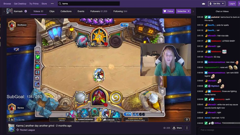 When Jaime Bickford found fame playing the online card game Hearthstone, she quit her job. (Credit: Twitch.tv)