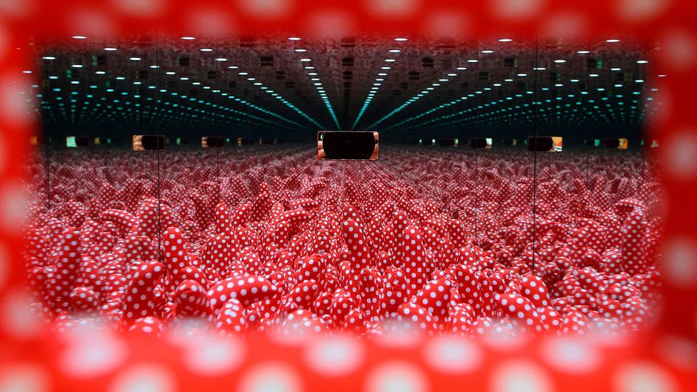 Yayoi Kusama's exhibitions – including her Infinity Mirror Rooms – draw huge crowds and have proven wildly popular on Instagram (Credit: Getty)
