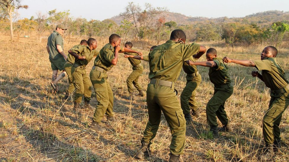 Damien Mander oversees combat training; the team he leads is thought to be the world's first all-women ranger unit protecting a nature reserve (Credit: Rachel Nuwer)