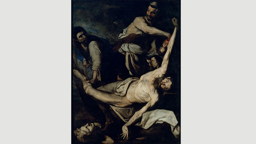 By 1644, Ribera was more graphic in his telling of the saint's demise, showing him being flayed alive in gruesome detail (Credit: Calveras/Mérida/Sagristà)