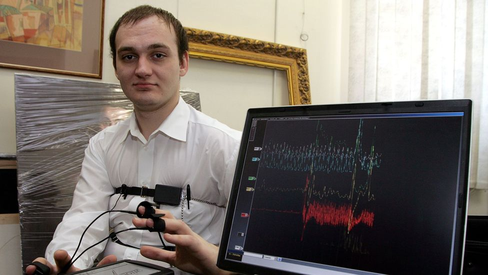 A polygraph in Moscow in 2007, when Russian human rights activists opposed a bill that would've allowed companies to submit employees to polygraph tests (Credit: Getty Images)