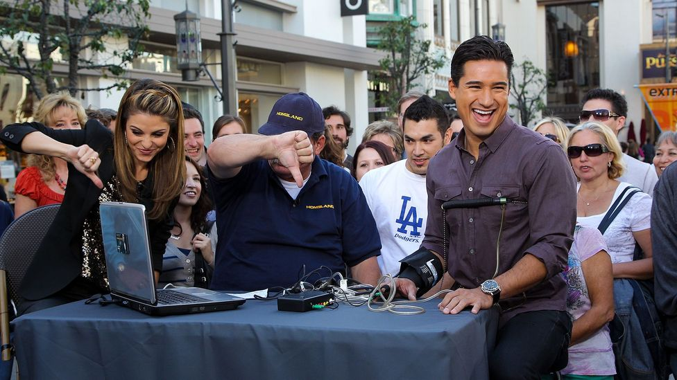 US talk show host Mario Lopez uses a polygraph machine. The efficacy of polygraph tests has been met with scepticism by many in the scientific community (Credit: Getty Images)