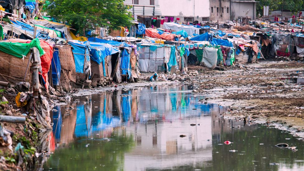 Without adequate drainage, standing water in Delhi's slums can become a breeding ground for disease (Credit: Alamy)