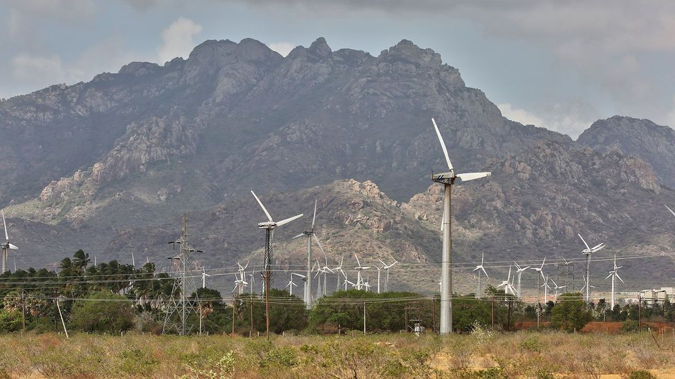 Besides its nuclear power schemes, India is also investing heavily in renewable power sources, such as these wind turbines in Punniyavalanpuram, Tamil Nadu (Credit: Getty Images)