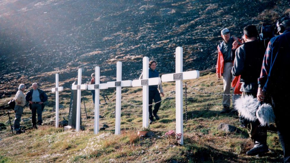 The flu killed in even some of the most far-flung outposts - these crosses are for miners who died in a remote Norwegian settlement (Credit: Getty Images)